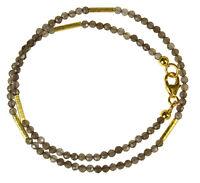 RAUCHQUARZ Wickel-Armband 925 Silber vergoldet Armkette Z321