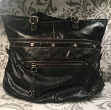 Rare Nine West Black Synthetic Leather Convertible Zip Tote Purse To Clutch #384