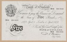 More details for b270 p. s. beale 1949 m99 white £5 banknote in near mint condition