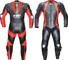 Combinaison Moto en Cuir Noir Rouge Motocycliste Mono Professionnel Triple-Cout