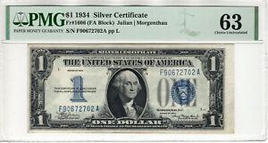 1934 $1 SILVER CERTIFICATE NOTE FR.1606 FA BLOCK PMG CHOICE UNC 63 (702A)