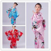 Vintage traditional Japanese gril's Kimono Yukata Haori Kids' Yukata obi Dresses