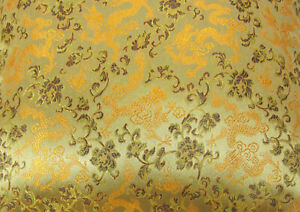 Faux Silk Brocade (Chinese Dragon) Jacquard Damask Kimono Fabric Material BL5