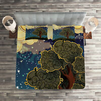 Funk Art Quilted Coverlet & Pillow Shams Set, Vİbrant Starry Night Print