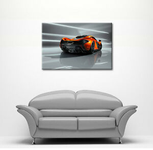 LARGE FREE P&P ORANGE MACLAREN P1 SUPERCAR CANVAS WALL ART PICTURE PRINT NEW