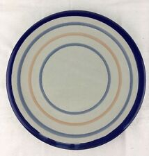 "EUC Louisville Stoneware 11"" Dinner Plate Blue Trim Wide Blue Pink Bands Pottery"