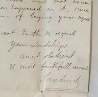 RARE The Earl of Sandwich Signed Letter PSA DNA Autograph John Montagu 4th 1765