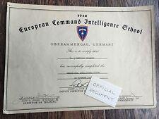 European Command Intelligence School Certificate - Oberammergau, Germany - 1947