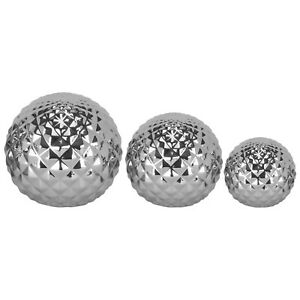 Set of 3 Chrome Decorative Balls Home Decor Ornament, Perfect for creating a foc