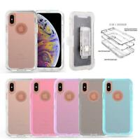 Heavy Duty Shockproof Crystal Clear Clip Holster Case For iPhone X/XR/XS/XS MAX
