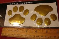 3D ANIMAL PAWS DOG OR BEAR.. QUALITY GOLD FINISH 3D CAR STICKER EMBLEM DECAL