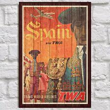 Spain VintageTravel poster wall art print Panel effect Wood wall decor Men Gifts