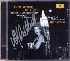 Anne-Sophie MUTTER Signed BRAHMS Violin Concerto SCHUMANN Fantasie KURT MASUR CD