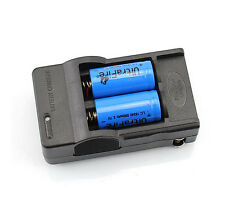 2x 880mah 16340 CR123A 3.7V Rechargeable Battery Blue + Wall Charger