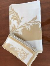 Silk Tablecloth w/ 8 Matching Napkins Gold/White Approx. 80x60; Approx 20x20