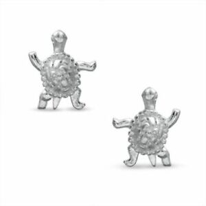 14k White Gold Over Sterling Silver Turtle Stud Earrings