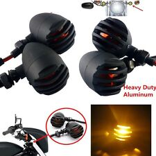 4x Black Bullet Turn Signal Indicator Amber Light For Bobber Chopper Cruiser-NEW