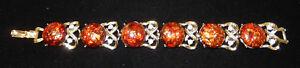 CORO - Foil Art & Rhinestone Goldtone Bracelet