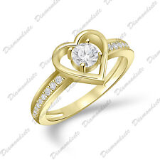 Love Heart Anniversary Clear Promise Ring 14K Gold .925 Sterling Silver Infinity