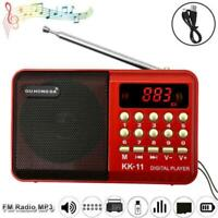Mini Portable FM Radio LCD Digital MP3 Player Speaker USB TF Rechargeable A T2A3