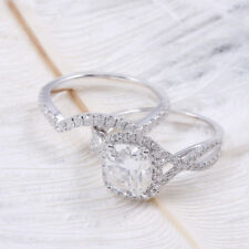 Certified 3.50CT White Cushion Cut Diamond Engagement Ring Set 14K White Gold