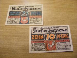 2 x 1921 Germany 10 & 25 Pfennig Notgeld Banknotes same set, UNC very crisp