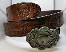 Leather Belt Handmade Native American Rez Life Bear Feather Paw Skull Size 38-42