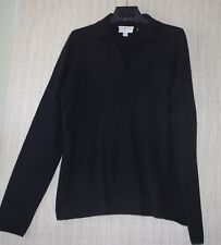 Charter Club 2 Ply cashmere Black V Neck Collared Women's Sweater  Size:P/M