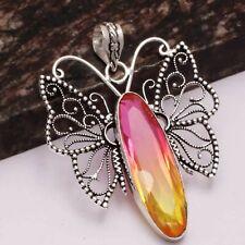 "Bi-Color Tourmaline Ethnic Handmade Butterfly Pendant Jewelry 2.68"" AP 18450"