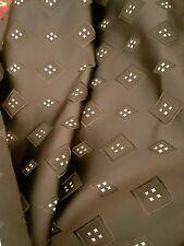 Black with silver stars square design brocade fabric  140cm  per metre