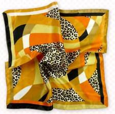 Gold animal print Soft Neckerchief Shawl Head Bandanas Square Scarf Satin