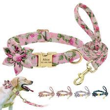 Name Custom Soft Nylon Dog Collar and Leash Set for Dog Walking Pink Blue Orange