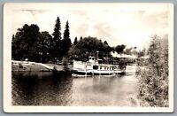 Postcard RPPC 1940s Muskoka Ontario 100 Mile Cruise Balla Falls Islander Steamer
