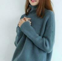 Tops Long Sleeve Coat Women Cashmere High-Necked Sweater Loose Cardigan