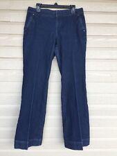 ANN TAYLOR LOFT Womens 10 Denim Blue Jeans Trousers Pants Dark Wash Flare Cuffs