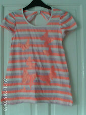 ORANGE AND WHITE T SHIRT BY DEBENHAMS, AGED 11-12