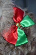Christmas Dog Cat Bow Tie Small Dog Breed Satin Adjustable Collar green red gems