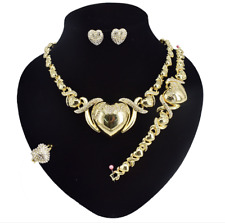 Hugs and Kisses I Heart You Earrings Gold Necklace with Bracelet 4 Pcs Set #46