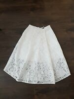 Topshop A line Lace Midi Skirt Lined pockets Size 10uk White Prairie Cottagecore