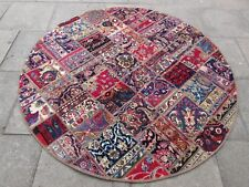 Traditional Hand Made Vintage Oriental Patchwork Wool Red Round Rug 199x199cm