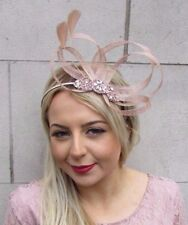 Nude Rose Gold Silver Feather Sinamay Fascinator Headband Races Cocktail 4512