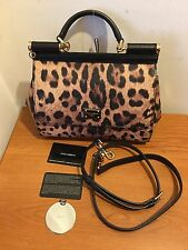 DOLCE & GABBANA Small Sicily Bag In Leopard Textured Leather RRP £925
