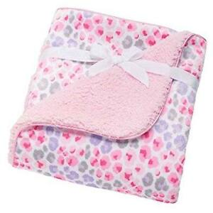 NWT Just Born Pink Purple Grey Cheetah Leopard Velour Velboa Sherpa Baby Blanket