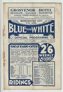 Manchester City V Bolton Wanderers Rare Division One Programme 1935/36