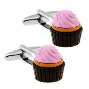 CUPCAKE CUFFLINKS Foodie Pastry Chef Pink Frosting Dessert Food NEW w GIFT BAG