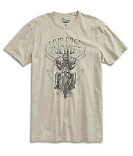 Lucky Brand Live Free Die Free T-Shirt Size M Medium Beige Motorcycle NEW