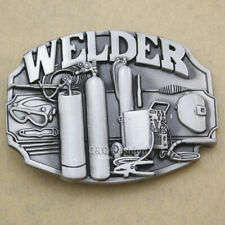 Silver Welder Machinists Working Machinery Tools Trades Union Belt Buckle H7
