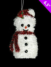 3 x LARGE Christmas wired Tinsel Snowman hanging | table decorations 17cm Tall