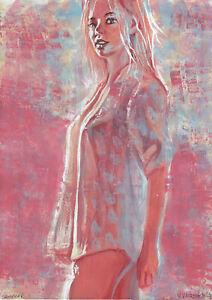 original painting A4 485UV art samovar modern Mixed Media female half naked