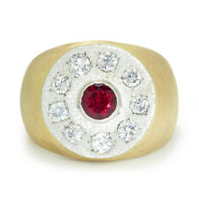 Men's Natural Ruby Ring with Diamonds 14K Heavy Gold 2.75ctw